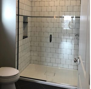 Daltile, Arctic white tile with black jolly accent strip